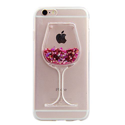 iPhone 7 Glitzer Hülle,iPhone 7 Case Transparent Clear,iPhone 7 TPU Case,iPhone 7 Flüssige Case,Hülle für iPhone 7 with 4,7 Zoll,Cool 3D Crystal Klar Dual Layer Schutzhülle Rotwein Design Bling Bling Flowing Lquid Wasser Fruit Rückseite Handyhülle Etui Schale für Apple iPhone 7 4.7 (Iphone Case, Das Bewegte Wasser)