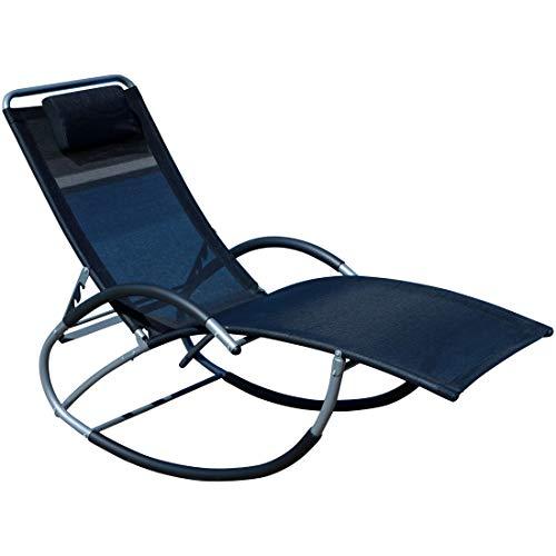 ASS Liegestuhl Schwingstuhl Schaukelstuhl Schaukelliegestuhl mit Atmungsaktiven Kunststoffgewebe Rückenlehne Verstellbar + Kopfpolster Kreta-Schwarz von