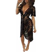 Ai.Moichien Cardigan Crochet Lace Rose Impreso Hueco Erotico Ver Throuth Shawl Outwear Capa Pijamas