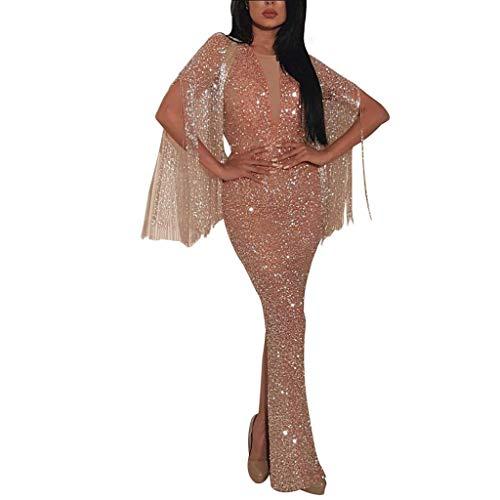 TU1542TIE Elegant Damen Sexy O-Hals Figurbetonte Kleider Partykleid sexy Langes Kleidr Mode MaxiKleidr Lange Abendkleid Brautjungfer Kleid Elfenbein Cocktailkleid