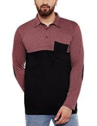 Hypernation Pink Melange And Black Color Cotton Polo T-shirt For Men