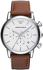 Emporio Armani Classic Men's Silver Dial Leather Band Chronograph Watch (Model: AR1