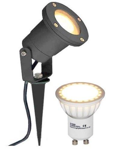 Long Life Lamp Company Piquet luminaire extérieur / IP65 4 Watt, noir mat, ampoule compatible GU10