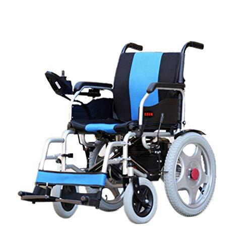 ZGYQGOO Larghezza del Sedile della Sedia a rotelle elettrica 45 cm Sedia a rotelle Ultra Portatile Pieghevole (Batteria al Litio 12A) Motore Doppio da 250 W.