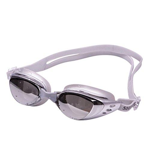 Tookang Wasserdichte Brille Mit Großem Rahmen Schwimmbrille Mit UV-Schutz Wasserdicht Spiegel Schwimmbrille Für Erwachsene Männer Und Frauen Silber-Grau