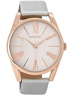 Oozoo Damenuhr mit Lederband Silber/Rosé 42 mm C8912