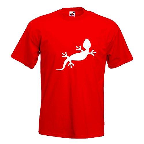 KIWISTAR - Gecko Motiv 2 T-Shirt in 15 verschiedenen Farben - Herren Funshirt bedruckt Design Sprüche Spruch Motive Oberteil Baumwolle Print Größe S M L XL XXL Rot