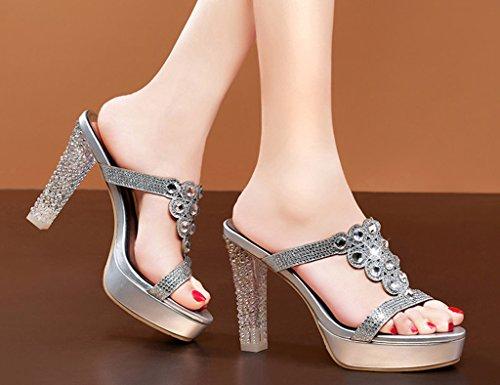 HWF Scarpe donna Pantofole sexy scarpe col tacco alto impermeabile donna Taiwan pesce bocca sandali femminili cool ( Colore : Oro , dimensioni : 35 ) Silver