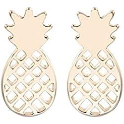 Cute oro plata frutas piña Stud Pendientes para las mujeres, diseño minimalista Post pendientes