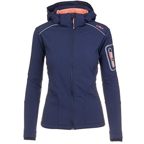 CMP Softshelljacken für Damen Softshell Jacke Fahrradjacke Fahrradregenjacke schwarz große Mädchen Funktions-Outdoor-Wandern-Jacke atmungsaktiv, Farbe:Navy-Sea-Blue, Größe:38 (Navy Blue Jacke)