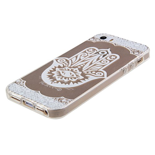 Kakashop iPhone 5C Silicone Etui Case Cover Transparent Crystal Clair Doux TPU, Rétro Fleur Peinture de Style Soft Gel Retour Housse Coque pour iPhone 5C(tournesol 2) paume