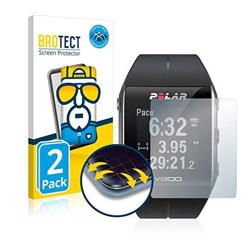 BROTECT Full Cover Schutzfolie für Polar V800 HR [2er Pack] - Full Screen Bildschirmschutz, 3D Curved, Kristall-Klar
