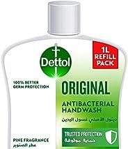 صابون سائل ديتول الاصلي لغسل اليدين قابل لاعادة التعبئة من أجل حماية فعالة من الجراثيم والنظافة الشخصية (يحمي