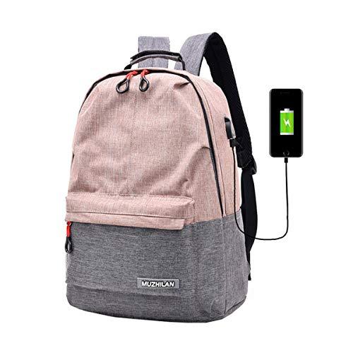 Xiuy Schulranzen Trendy Hochschule Schultasche Zweifarbig Canvas Backpack Mädchen Tablet Schulrucksack Junior Classic Rucksack Schule Multifunktional Verschleißfest -