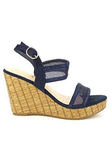 Cendriyon, Compensée Blue KILIANA Mode Chaussures Femme Bleu