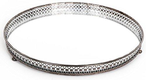 Bougie en verre miroir Argenté 25cm Assiette plateau