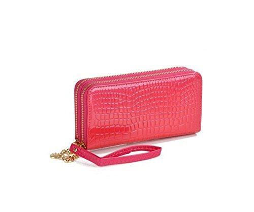 Aiklin Damen Lange Geldbörse mit Zwei Reißverschlüsse Leder Portemonnaie (Rosarot)