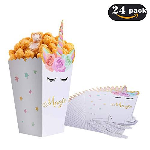 OASMU 24st Einhorn Snack-/Popcornboxen Partyzubehör Party Taschen Papier Geschenktüten Kinder Geburtstag Taschen,Quadratisch Box Geschenkset Einhorn