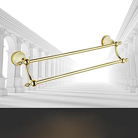 SSBY Lujo de estilo europeo, toallero de baño, doble cobre chapado en oro, barra de toalla de jade con incrustaciones de
