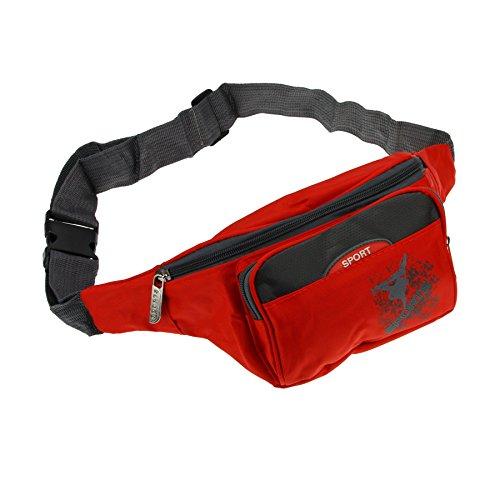 FakeFace Neu Unisex Gürteltasche Bauchtasch Geldtasche Hüfttasche Umhängetasche Geldbeutel Schwarz Grün Blau Rose Rot für Sport Rot