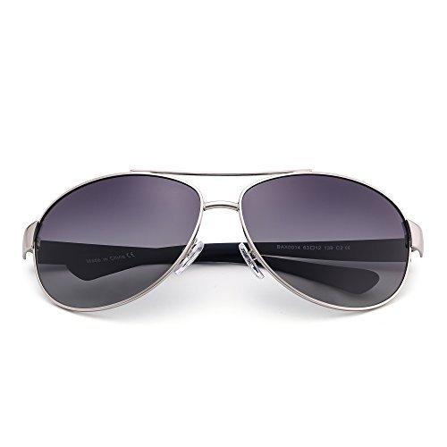 JIM HALO Polarisiert Flieger Sonnenbrille Oversized Verlaufs Linsen Matt Tempel Dame Herre Grau