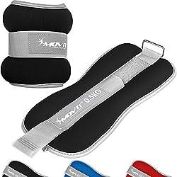 Movit® Juego de 2 Neopreno de Neopreno de Peso Pro con Tejido de Rizo en el Interior y Material Reflector, 2X 0.5 kg en Negro, Pesas para muñecas y Tobillos