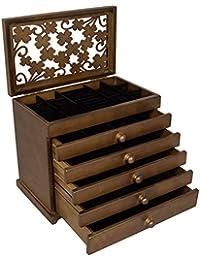 SONGMICS Caja joyero de Madera Organizador para bisuterías Joyas Tapa Tallada con Cristal Marrón JBC56W