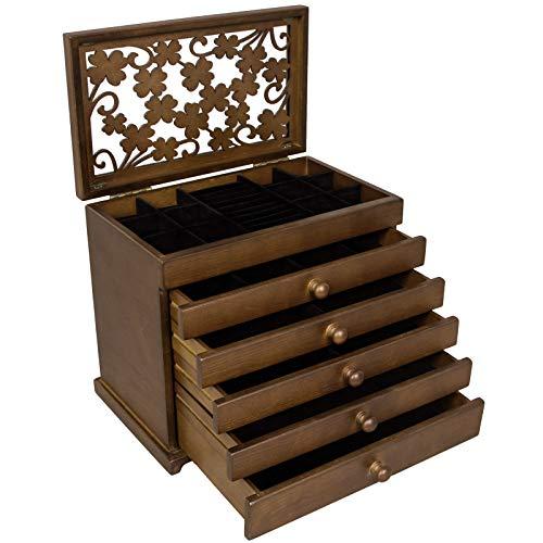 SONGMICS Schmuckkästchen 5 Schichten mit Schubladen Holz(MDF) Dunkelbraun JBC56W