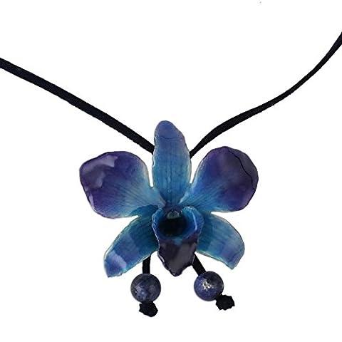 Novica Naturel Orchidée et sodalite Long Lariat Collier, 87,6cm, 'bleu nuit' avec cordon de cuir