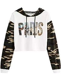 19788bdb401a Herian Damen Tarnung Paris Drucken Langarm Kapuzenpullover Hoodie  Sweatshirt Pullover Tops