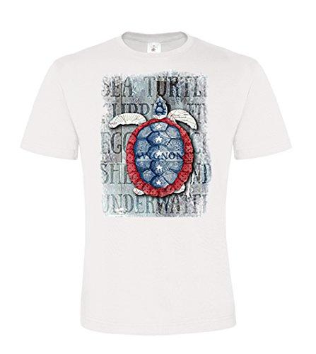 DarkArt-Designs Sea Turtle - Schildkröten T-Shirt für Kinder und Erwachsene - Beachmotiv Shirt Meer USA Fun Party&Freizeit Lifestyle regular fit White