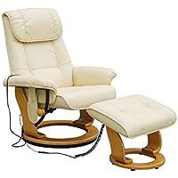Alpha Techno Alpha 7036 beige Schwingungsfrequenzmassagesessel, Relaxsessel, Kunstleder, beige