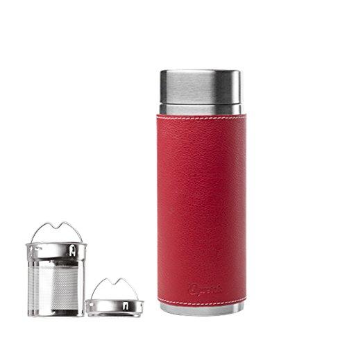 Qwetch Théière isotherme Haute Couture 300 ml Acier Fourreau Cuir Rouge