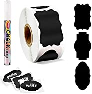 Premify 300 Chalkboard Labels & White Marker, Pantry and Storage Stickers for Jars, Kitchen Labels for Jar