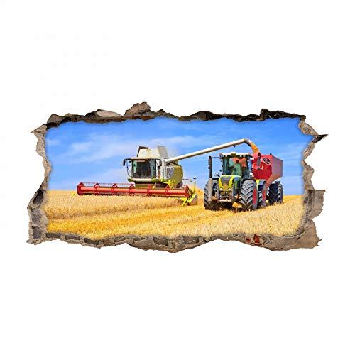 nikima Schönes für Kinder 134 Wandtattoo Mähdrescher und Traktor - Loch in der Wand - Coole Kinderzimmer Sticker Aufkleber Wanddeko Wandbild Junge Trecker - Größe 1000 x 500 mm
