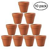 OUNONA 10pcs 4.5x 4cm Petite Mini pot en terre cuite Argile poterie en céramique Pot de fleurs Cactus Pots de...