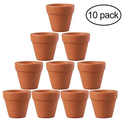 Galleria fotografica OUNONA 10PCS 4.5x 4cm Small mini terracotta argilla ceramica ceramica vasi di fiori vaso cactus succulente nursery vasi ideale per piante Crafts wedding favor
