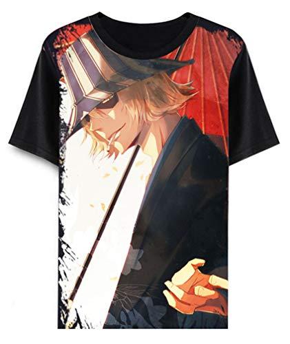 Cosstars Anime Bleach T-Shirt Cosplay Kostüm Sommer Kurzarm Tee Top Shirts Schwarz 8 (Bleach Cosplay Kostüm)
