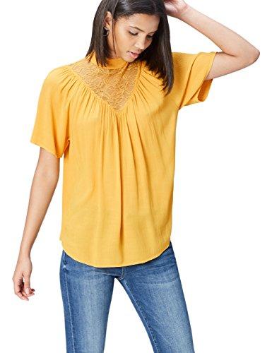 find. Bluse Damen mit Raffungen und Spitzenbesatz, Orange (Mango), 34 (Herstellergröße: X-Small)