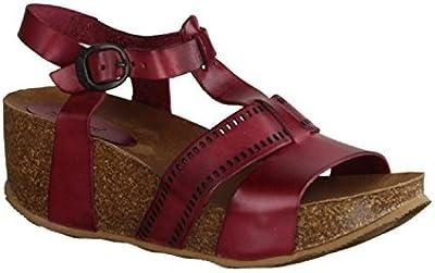 Kickers Abycool 470560-4 - Zapatos De Mujer Sandalias De Tacón Alto / Honda, Rojo, cuero