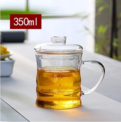 Yiszj tazza bicchieri mug tazza di tè in vetro resistente al calore tazza di tè fiore tazza trasparente tazza di tè @ tazza di tre pezzi di bambù