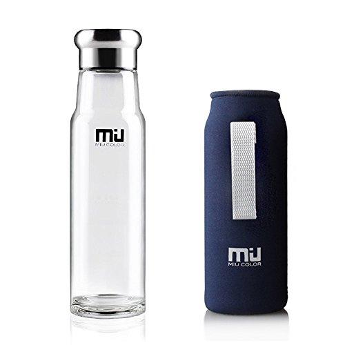 MIU COLOR–® Elegante portátil 550ml botella de cristal con f