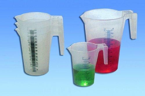 POT GRADUE PLASTIQUE, MESUREUR INGREDIENTS CUISINE (ø 12 cm contenance 1 litre haut. 16.5 cm)