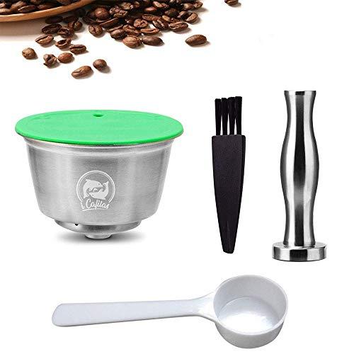 Pawaca Cápsulas Recargables para Dolce Gusto, Café Capsula Reutilizable para Nescafe Dolce Gusto Acero Inoxidable with 1 Pincel, 1 Cuchara, 1 Manosear