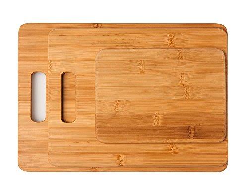 schöne Schneidebrett 3-er Set Küchenbretter Schneidebretter aus Bambus in verschiedenen Größen , 33 x 24 x 1 cm , 28 x 22 x1 cm , 20 x 15 x 1cm (Schneidebrett-set Bambus)