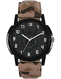 Styletime Round Dial Analogue Multi-Color Dial Brown Leather Strape Fashion Wrist Watch For Men & Boys