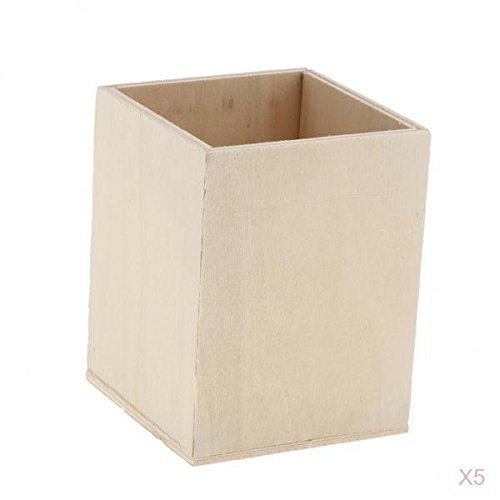 Unvollendete Holz Schreibtisch (F Fityle Pack 5 Unvollendete Holz Desktop Speicherorganisator/Fernbedienung Caddy Halter Holz Box Container Für Schreibtisch Bürobedarf Home Kinder DIY Han)