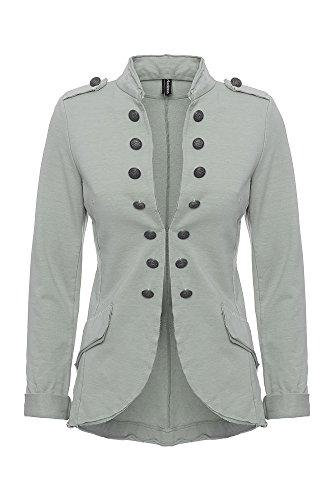 Damen Blazer Damenjacke Military Knöpfe S-XXXL, Farbe:grey;Größe:XXL (Ein-knopf-blazer-jacke)