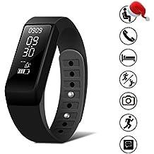 Smart pulsera reloj Fitness Tracker–SMbox inalámbrico USB de carga Bluetooth 4.0Podómetro Monitor de sueño y llamada/SMS recordatorio para iphone 6/6Plus/7/7Plus Samsung S7/Nota 7/S8Huawei Mate 9/P9/P10, color negro