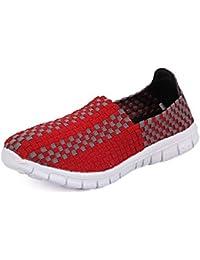 QANSI Zapatos Deportivos Zapatillas Ligeras Mocasines Tejidos Multicolores Zapatillas Transpirables para Caminar Zapatos sin Cordones